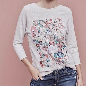 🆕 Anthropologie Gray Embroidered Floral Top, S